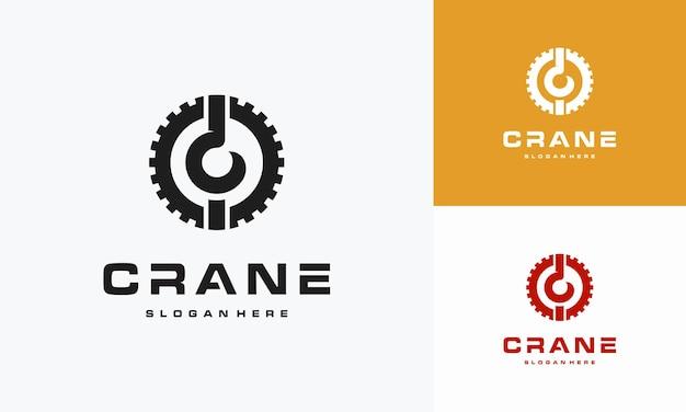 Création de logo de grue avec engrenage, création de logo de construction. illustration du logo de construction