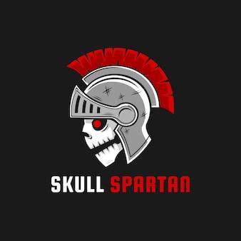 Création de logo de guerrier spartiate crâne sombre