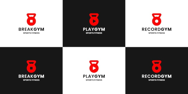 Création de logo de gym groupée. pause, lecture et enregistrement icône se combinent avec kettle bell gym sport