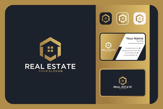 Création de logo hexagone immobilier et carte de visite