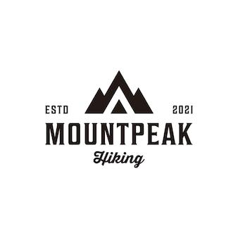 Création de logo hipster sommet de montagne vintage rétro