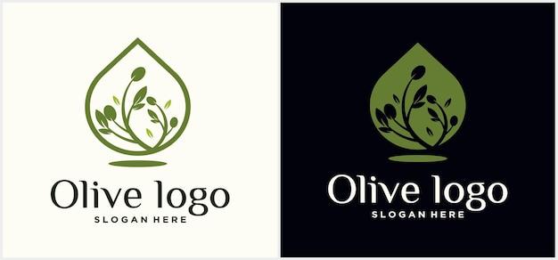 Création de logo d'huile d'olive modèle de conception de logo de nourriture d'olive logo de luxe goutte d'huile d'olive