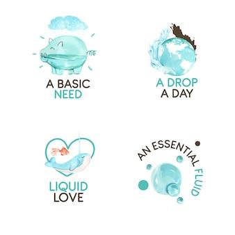 Création de logo avec illustration aquarelle de concept de journée mondiale de l'eau