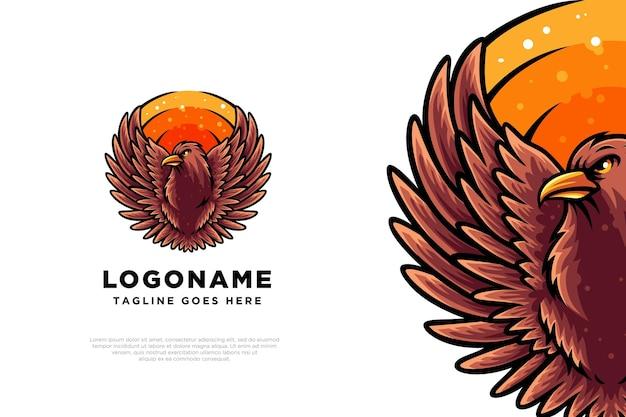 Création de logo d'illustration d'oiseau d'aigle