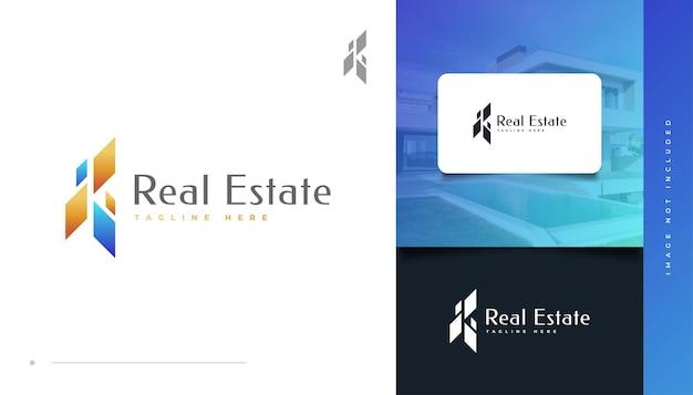 Création de logo immobilier abstrait et futuriste en bleu et or