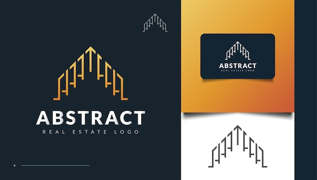 Création de logo immobilier abstrait et futuriste. création de logo de construction, d'architecture ou de bâtiment