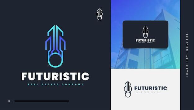 Création de logo immobilier abstrait et futuriste en dégradé bleu. logo de construction, d'architecture ou de bâtiment