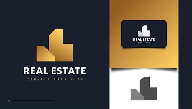 Création de logo immobilier abstrait et minimaliste en or. création de logo de construction, d'architecture ou de bâtiment