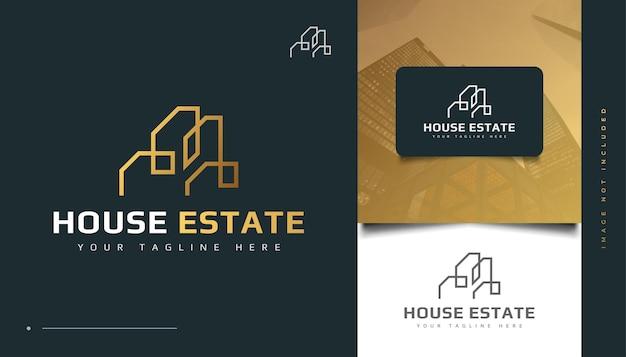 Création de logo immobilier abstrait or avec concept linéaire. création de logo de construction, d'architecture ou de bâtiment