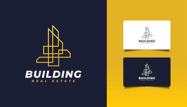 Création de logo immobilier abstrait or avec style de ligne.