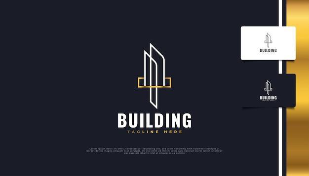 Création de logo immobilier blanc et or avec style de ligne.