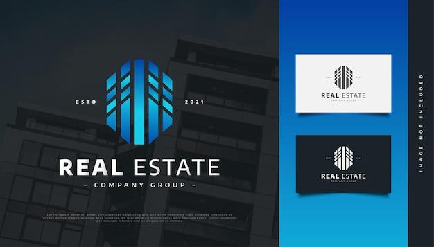 Création de logo immobilier bleu moderne et futuriste. création de logo de construction, d'architecture ou de bâtiment