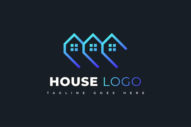 Création de logo immobilier bleu moderne et futuriste. modèle de conception de logo de construction, d'architecture ou de bâtiment