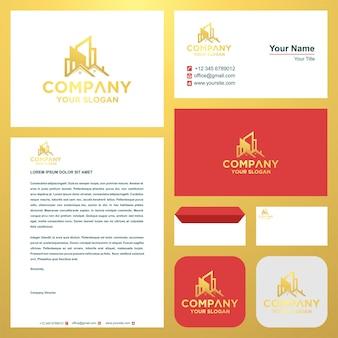 Création de logo ou immobilier en carte de visite premium vector logo premium