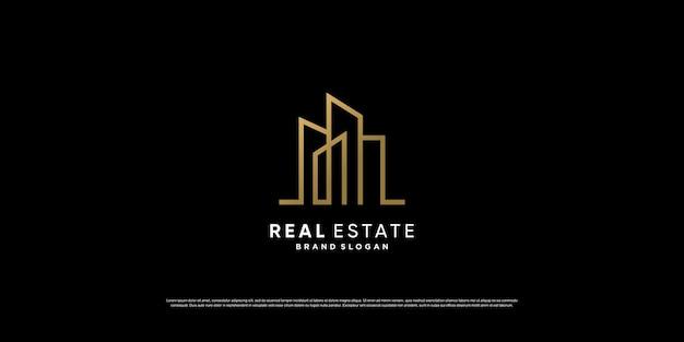 Création de logo immobilier doré créatif vecteur premium
