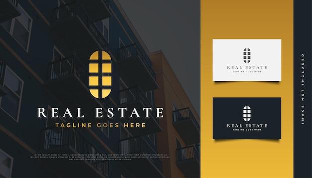 Création de logo immobilier élégant en dégradé doré