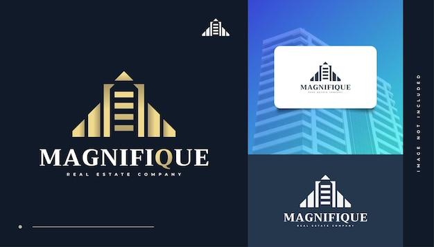Création de logo immobilier élégant en or. création de logo de construction, d'architecture ou de bâtiment