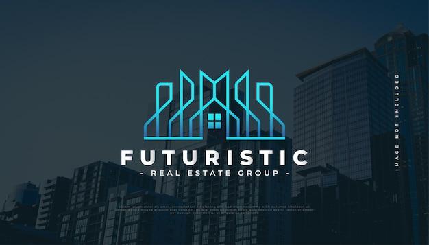 Création de logo immobilier futuriste bleu avec construction de style de ligne, architecture ou création de logo de bâtiment
