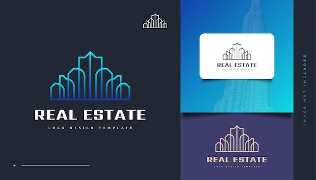 Création de logo immobilier futuriste bleu avec style de ligne. création de logo de construction, d'architecture ou de bâtiment