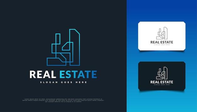 Création de logo immobilier futuriste bleu avec style de ligne. modèle de conception de logo de construction, d'architecture ou de bâtiment
