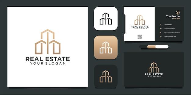 Création de logo immobilier avec ligne et carte de visite