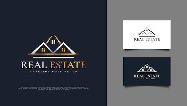 Création de logo immobilier de luxe en blanc et or.