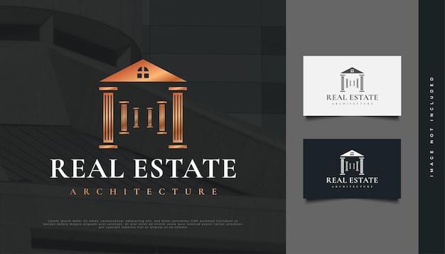 Création de logo immobilier de luxe avec concept de pilier. création de logo de construction, d'architecture ou de bâtiment
