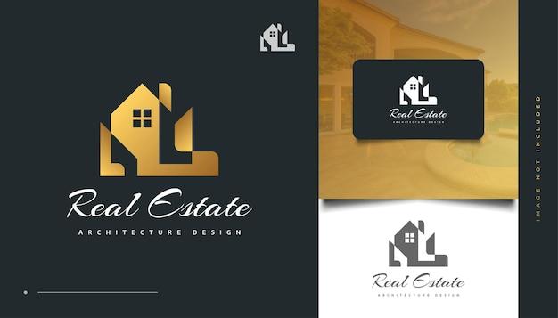 Création de logo immobilier de luxe en or avec concept abstrait