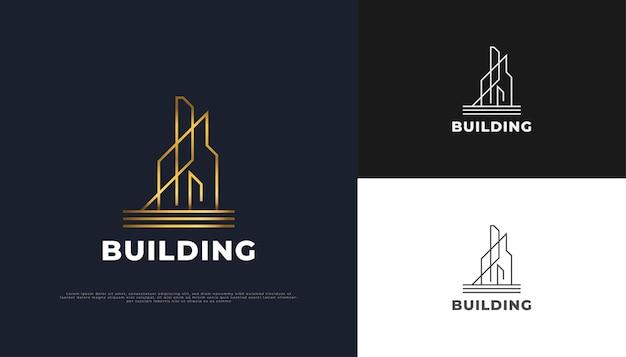 Création de logo immobilier de luxe en or avec concept linéaire.