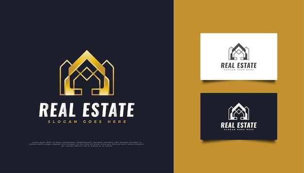 Création de logo immobilier de luxe en or avec concept minimaliste.
