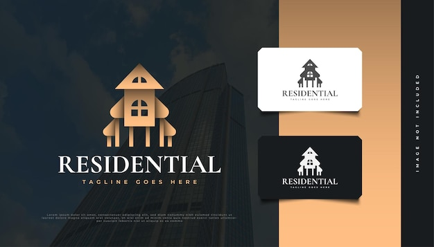 Création de logo immobilier de luxe en or. création de logo de construction, d'architecture ou de bâtiment