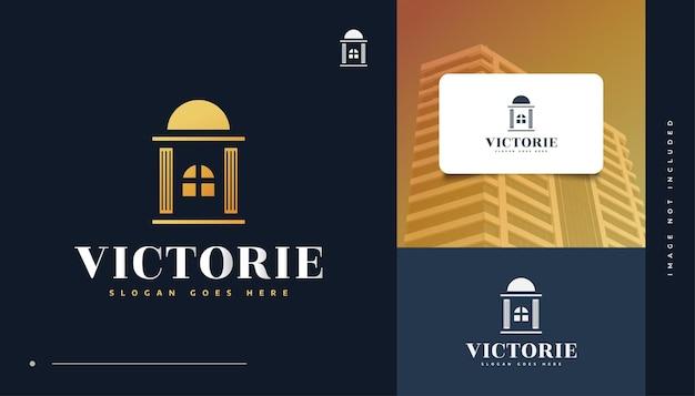 Création De Logo Immobilier De Luxe En Or. Création De Logo De Construction, D'architecture Ou De Bâtiment Vecteur Premium