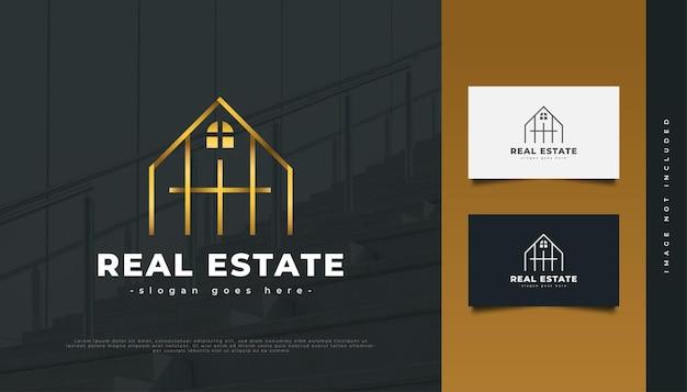 Création De Logo Immobilier De Luxe En Or Avec Style De Ligne. Création De Logo De Construction, D'architecture Ou De Bâtiment Vecteur Premium