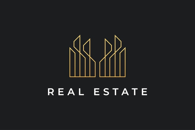 Création de logo immobilier de luxe en or avec style de ligne. création de logo de construction, d'architecture ou de bâtiment