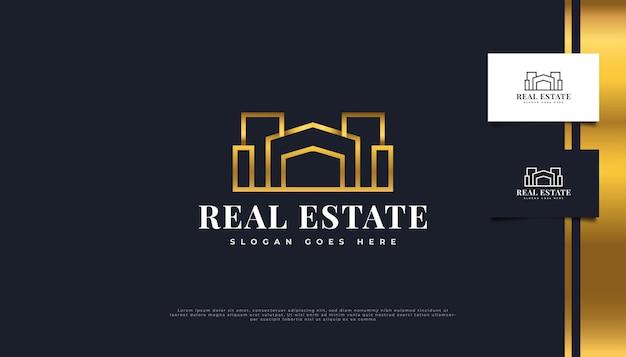 Création de logo immobilier de luxe en or avec style de ligne dans un concept minimaliste.