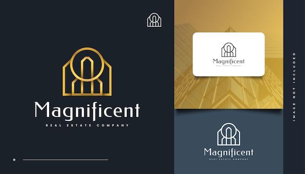 Création de logo immobilier de luxe en or avec style de ligne. logo de construction, d'architecture ou de bâtiment