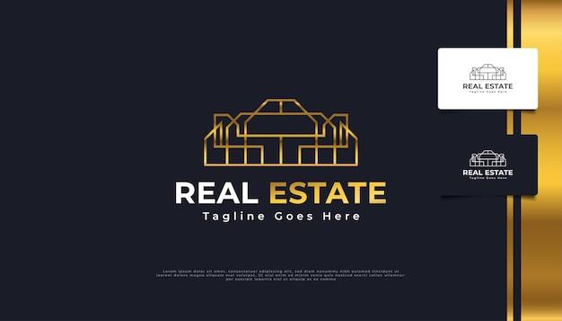 Création de logo immobilier de luxe en or avec style de ligne. modèle de conception de logo de construction, d'architecture ou de bâtiment