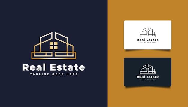 Création de logo immobilier de luxe en or avec style de ligne.