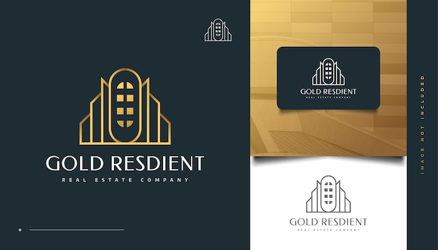 Création de logo immobilier de luxe en or avec style de ligne