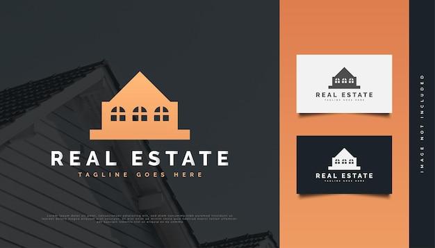 Création de logo immobilier de luxe en or avec un style minimaliste