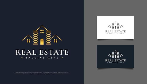 Création de logo immobilier de luxe en or.