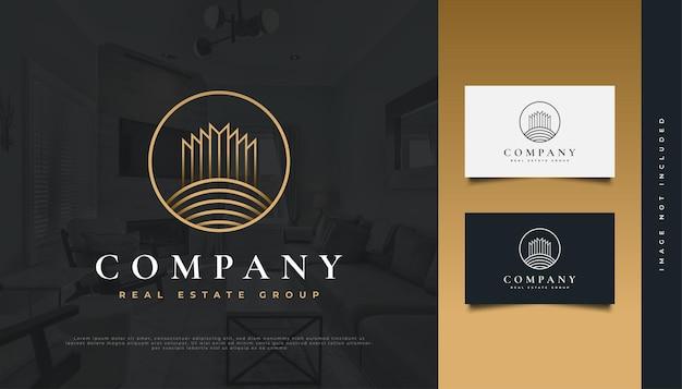 Création de logo immobilier de luxe en or