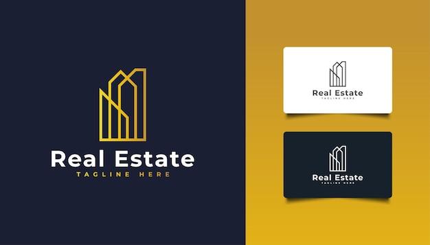 Création de logo immobilier de luxe avec style de ligne. logo de bâtiment d'or.