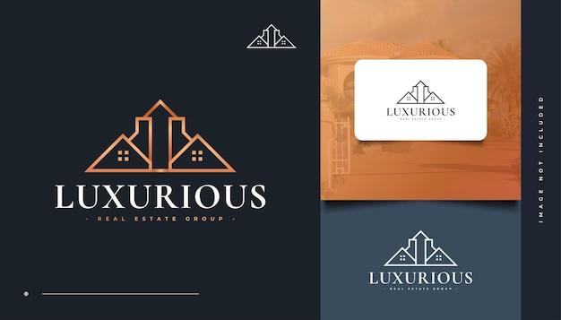 Création de logo immobilier de luxe avec style de ligne. logo de la maison. logo de construction, d'architecture ou de bâtiment