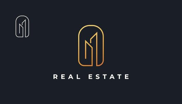 Création de logo immobilier minimaliste en or avec style de ligne. création de logo de construction, d'architecture ou de bâtiment