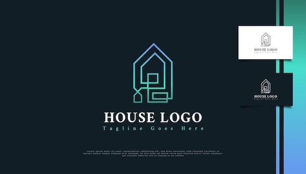 Création de logo immobilier minimaliste avec style de ligne en dégradé bleu et vert.