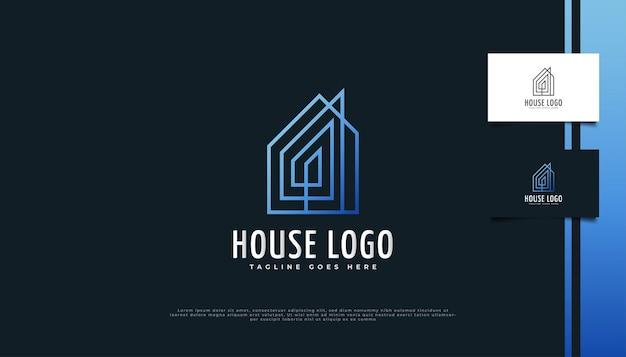 Création de logo immobilier minimaliste avec style de ligne en dégradé bleu.
