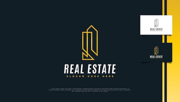 Création de logo immobilier minimaliste avec style de ligne or.