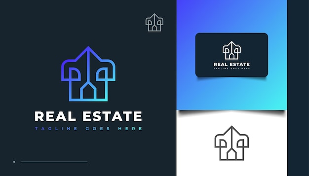 Création de logo immobilier moderne bleu avec style de ligne. création de logo de construction, d'architecture ou de bâtiment