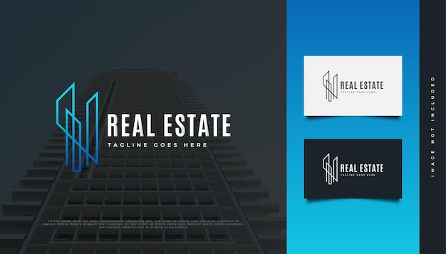 Création de logo immobilier moderne bleu avec style de ligne